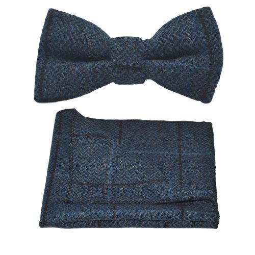 b5aad046c1b6 Luxury Aegean Blue Herringbone Check Bow Tie & Pocket Square Set, Tweed