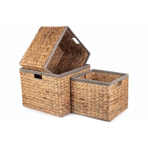 Square Water Hyacinth With Grey Rope Border Storage Basket