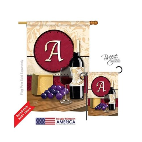 Breeze Decor 30209 Wine A Monogram 2-Sided Vertical Impression House Flag - 28 x 40 in.