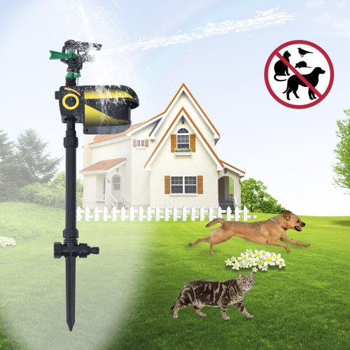 PawHut Jet Spray Scarecrow Sprinkler | Motion Activated Outdoor Animal Deterrent