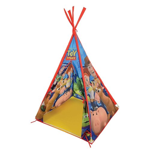 MV Sports Toy Story Teepee Play Tent Sturdy Poles With Fabric Cover and Tie Back Doors Suitable For 3 Years +