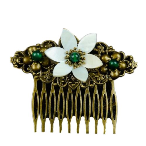 Classical Style Hair Comb Metal White Flower Hair Decoration Chic Hair Comb