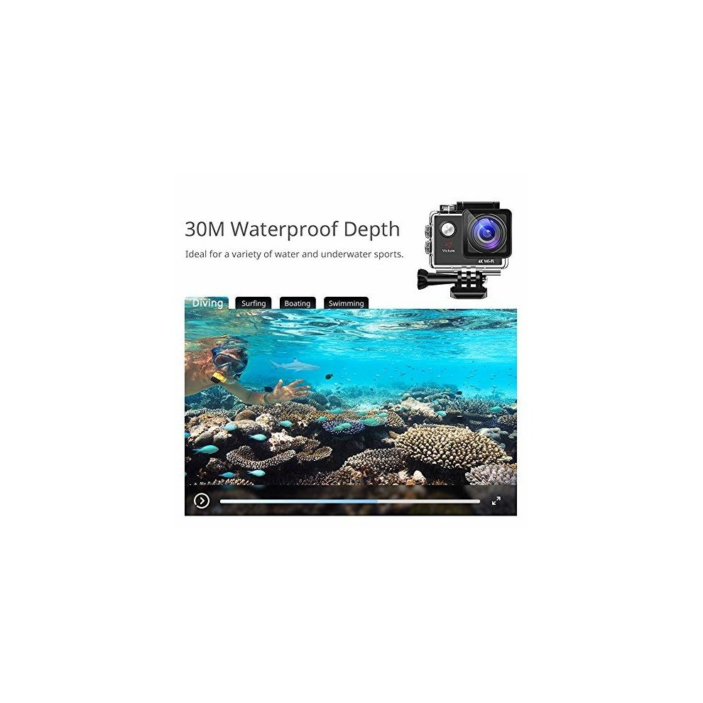 Victure Action Camera Waterproof 4K Wifi 16MP Sports Video Cam 170°  Wide-angle 2 Inch Screen 98 Feet Underwater Camcorder with 2 Rechargeable