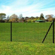vidaXL Euro Fence Set with Ground Spikes 25x1.5 m Steel Grey