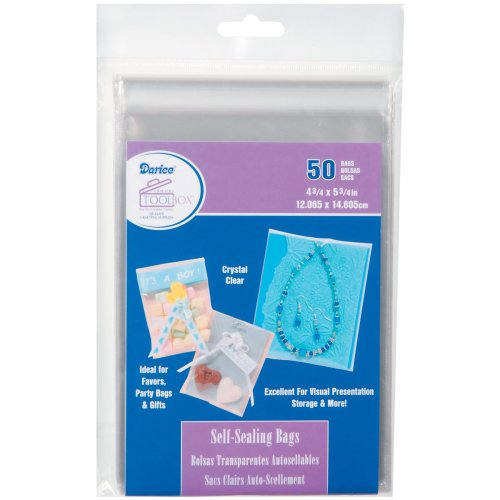 "Darice Self-Sealing Bags 50/Pkg-4.75""X5.75"" Clear"