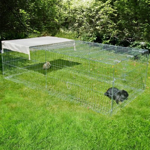 Large Rabbit Run with Sun Shield Metal Escape Barrier 4 Sided Guinea Pigs