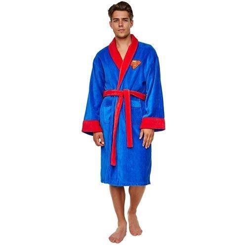Groovy DC Comic Superman Unisex Adult Fleece Dressing Gown Bathrobe - One Size