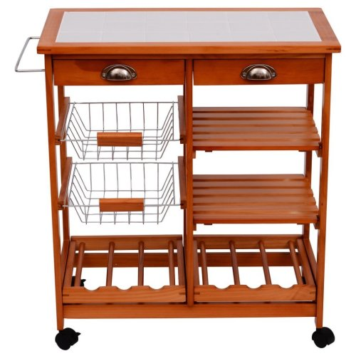 Homcom Trolley Cart With Drawers | Wooden Trolley Cart