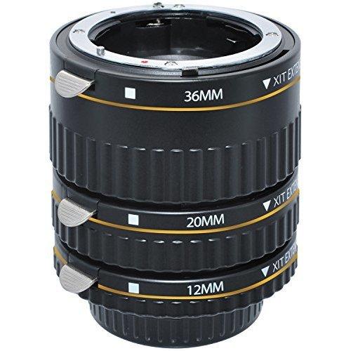Xit XTETN Auto Focus Macro Extension Tube Set for Nikon SLR Cameras Black