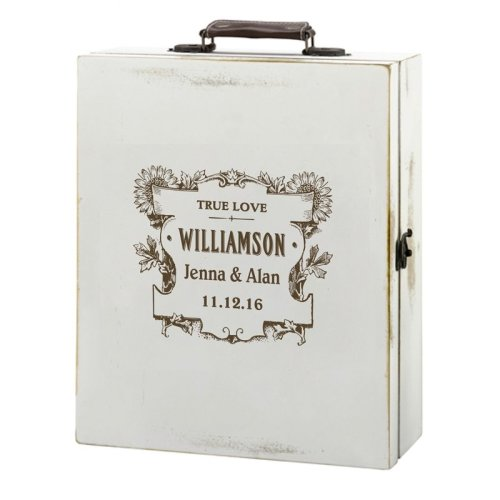 Personalised Antique White Wine Box