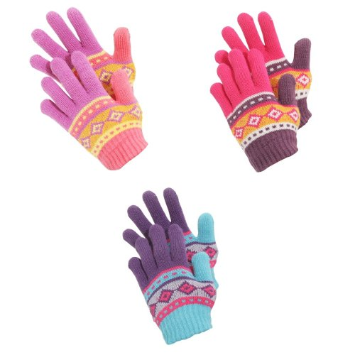 Childrens Girls Aztec Patterned Winter Gloves