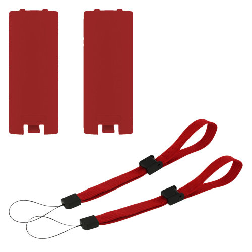 Battery cover & wrist strap kit for Nintendo Wii remote controller - 4 in 1 pack red - ZedLabz