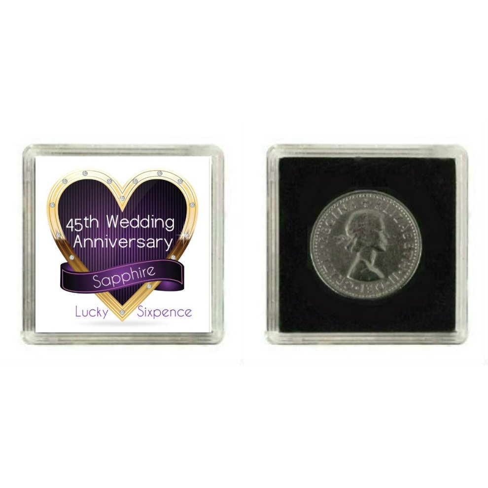 ... Lucky Silver Sixpence Coin Sapphire 45th Wedding Anniversary Gift, great present idea - 2. >