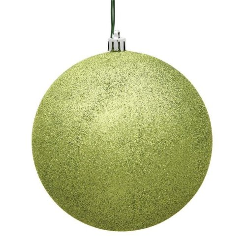 Vickerman N591273DG 4.75 in. Lime Glitter Drilled Christmas Ornament Ball - 4 per Bag
