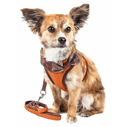 Pet Life HA27TNLG Luxe Pawsh 2-in-1 Mesh Reversed Adjustable Dog Harness-Leash with Fashion Bowtie, Tangerine - Large