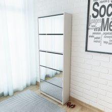 vidaXL Shoe Cabinet 5-Layer Mirror White 63x17x169.5 cm