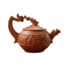 Double Dragon Playing a Ball Red Clay Teapot 9 Oz
