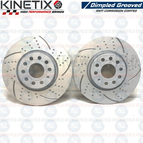 FOR SEAT LEON 2.0 TFSI FRONT KINETIX DIMPLED GROOVED BRAKE DISCS PAIR 312mm