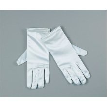 "9"" White Satin Adults Gloves -  gloves white fancy dress satin short ladies"