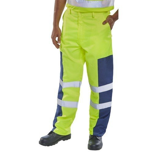 "Click PCTSYNNP28 Yellow and Navy Nylon Patch Trousers 28"" Regular"