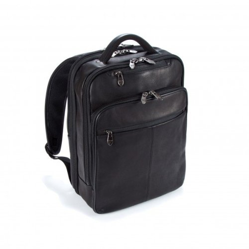 """Falcon Colombian Leather 16"""" Laptop Backpack - FI6705 Black"""