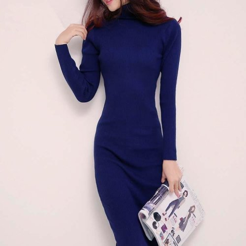 top quality 2017 new arrive women spring winter sweater dresses slim Turtleneck long knitted dress sexy bodycon robe dress W0754