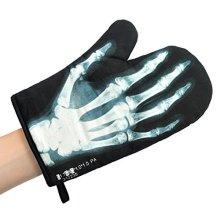 Black X-ray Oven Glove - Xray Mitt Mustard Skeleton Novelty Gift -  oven glove xray mitt mustard black skeleton novelty gift