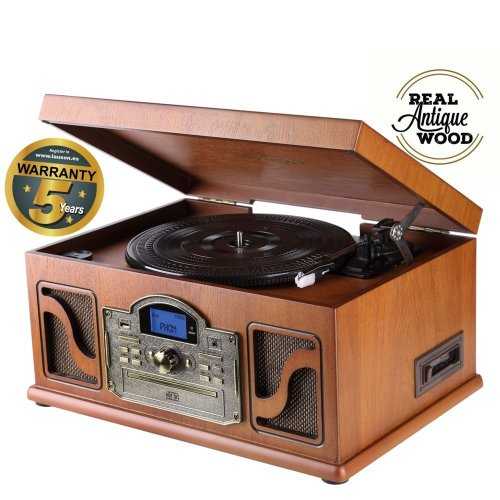 Lauson CL146 Bluetooth Record Player and Function Encoding (USB to Mp3), Turntable for vinyl records CD Cassette Radio Built-in Speakers