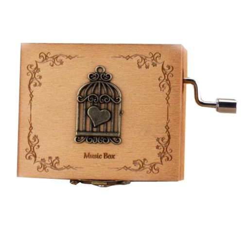 Wooden Music Box Mini Hand Crank Music Box Height Approx 1.3 Inch ?¨Birdcage??
