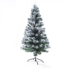 Homcom Artificial Christmas Tree Green with Snow Led Scattered Lighted Xmas Metal Stand (5ft W/180 Tips)