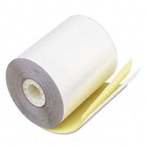 "PM Company 07685 Teller Window/Financial Rolls- 3-1/4"" x 80 ft- White/Canary- 60/Carton"