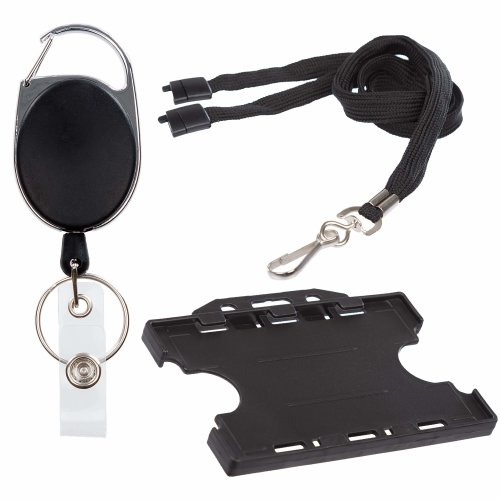 3 Piece Set ID Card Badge Holder, Breakaway Safety Lanyard and Retractable Reel with Metal Belt Clip (Black and blue )