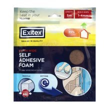Exitex Foam Draft Seal Extra Wide (1mm-4mm) 5m - BROWN