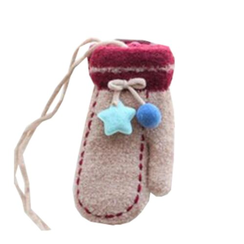 Beautiful Warm Velvet Gloves Children Coffee Winter Thicken Mittens