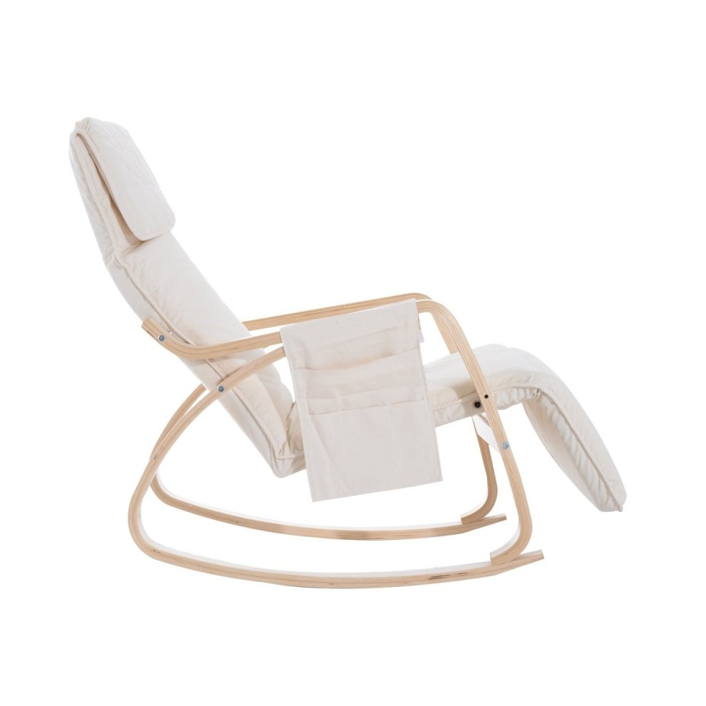 ... Homcom Wooden Rocking Lounge Chair Recliner Relaxing Seat With  Adjustable Footrest   2 ...