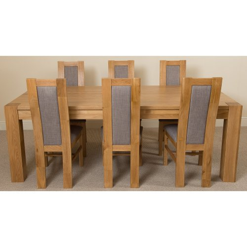 Kuba Chunky Solid Oak 220cm Dining Table with Stanford Dining Chairs