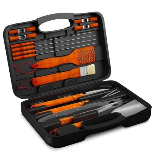 Home-Complete HC-1001 Wood BBQ Grill Tool Set - 18 Piece