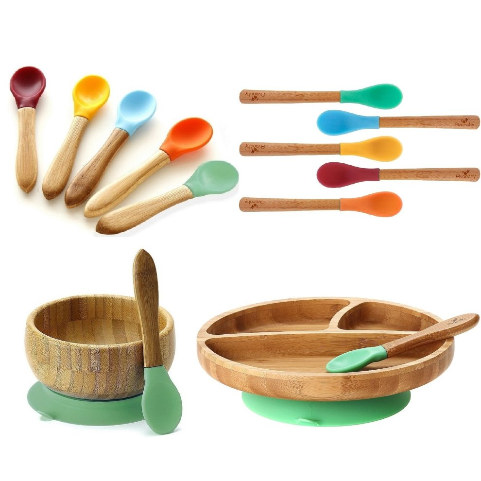 Baby Bpa Free Silicone Bamboo Baby Suction Bowl Baby Sustainable Feeding Set