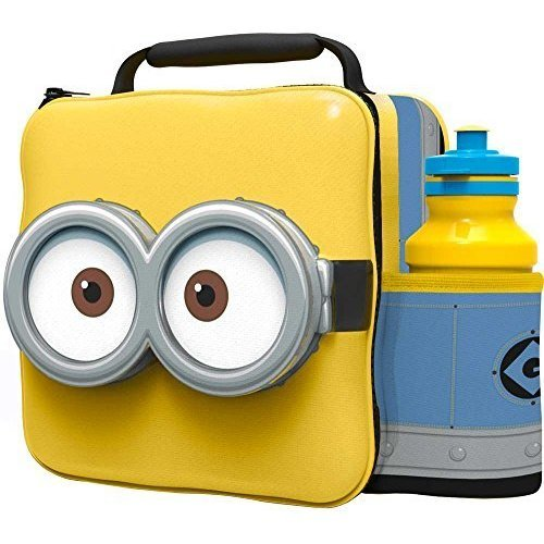 St366 - 3d Lunch Bag With Bottle - Minions - Box Thermal Drink Set Despicable -  3d lunch bag bottle box thermal drink set despicable me minions