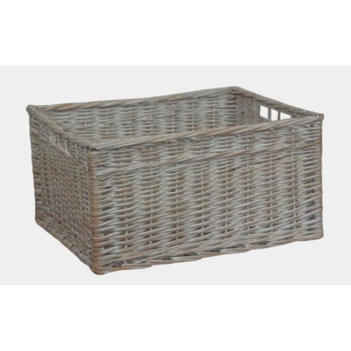 White Wash Open Storage Basket Extra Large