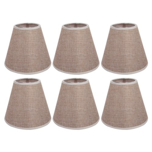 AFY Linen Clip On Candle Lampshade Chandelier Lamp Shades Pack of 6