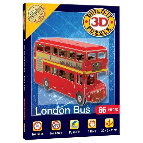Mini Build Your Own 3d Puzzle Model Kit - London Bus (66 Pieces)
