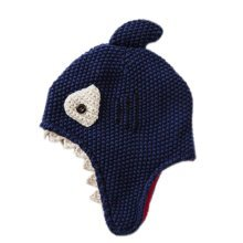 Warm Hat Knitted Hat Plus Velvet Ear Protection Hat Shark Pattern