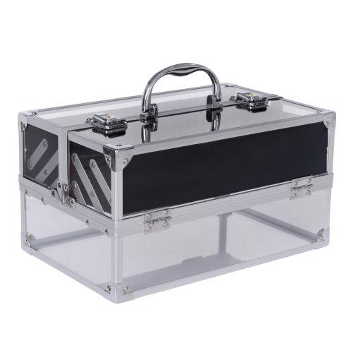HOMCOM Makeup Cosmetic Case Lockable Storage Box Vanity Unit Acrylic & Aluminium  Lightweight Travel w/ Handle Keys  5 Compartments   Silver