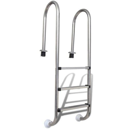 vidaXL Pool Ladder 3 Steps Stainless Steel 120 cm Non-Slip Swimming Pool Dock