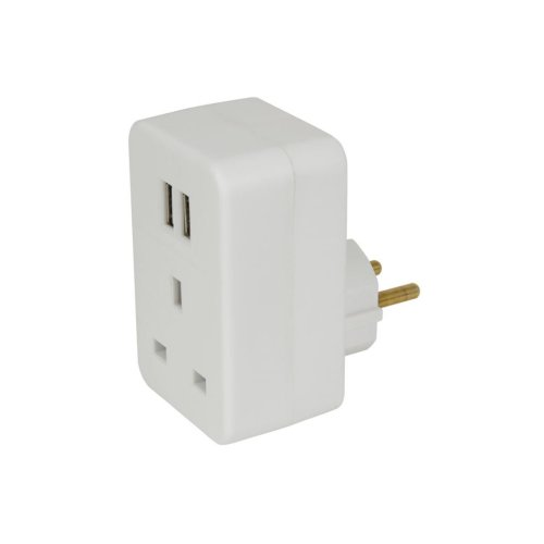 UK to Europe Travel Adaptor with Twin USB