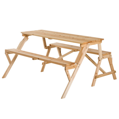 Outsunny Wood 2-in-1 Convertible Picnic Table Garden Bench Folding with Parasol Hole Patio Outdoor Furniture