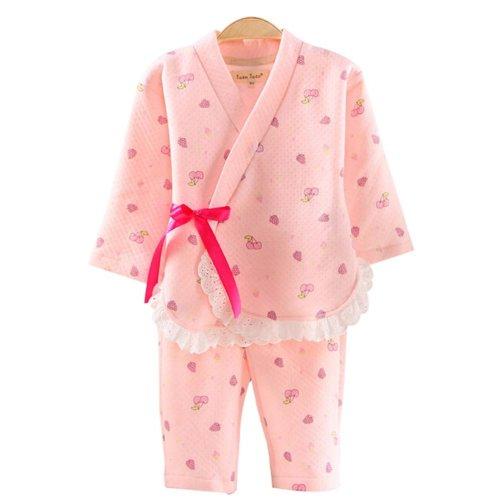 Children 's Pajamas Suit  Kimono Pajamas Girls Long - sleeved Cotton Air Layer