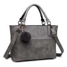 Miss Lulu Women Handbag Fur Ball Tote Cross Body Shoulder Bag