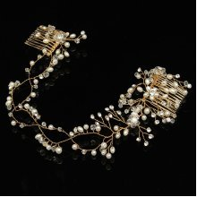 Bride Luxury Crystal Pearl Bead Hair Chian Comb Wedding Bridal Tiara Hair Accessories Headband